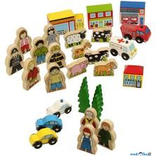 Vláčkodráha tématický set -  Budovy, figurky, auta (Bigjigs)