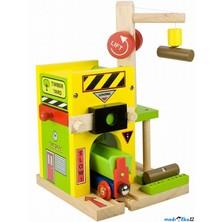 Vláčkodráha budovy - Pila s násypkou na dřevo (Bigjigs)