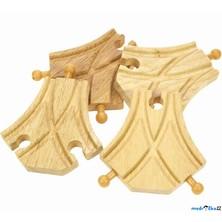 Vláčkodráha koleje - Výhybka symetrická, 4ks (Bigjigs)
