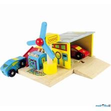 Vláčkodráha budovy - Autoservis + 2 auta (Bigjigs)