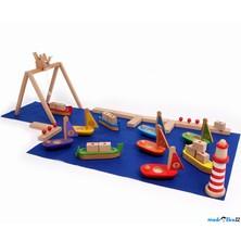 Vláčkodráha lodě - Přístav s jeřábem a loděmi (Legler)