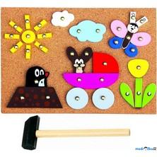 Hra s kladívkem - Deska s přibíjecími tvary, Krtek (Bino)