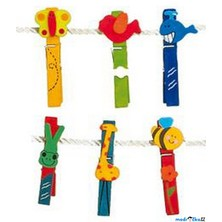 Kolíčky - Velká barevná sada, Zvířátka, 24ks (Legler)