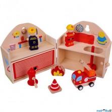 Hasičská stanice - V kufříku s figurkami (Bigjigs)