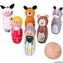 Kuželky dětské - Dřevěné malé, Noe a zvířátka (Bigjigs)