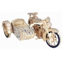 3D Puzzle přírodní - Motocykl s vozíkem