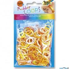 Gumičky pletací - Rubber Loops, Mix žlutá, 500ks (Folia)