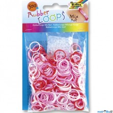 Gumičky pletací - Rubber Loops, Mix červená, 500ks (Folia)