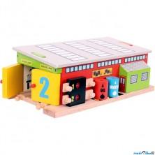 Vláčkodráha budovy - Železniční opravna (Bigjigs)