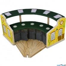 Vláčkodráha depa - Depo velké pětimístné zelené s dveřmi (Maxim)