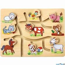 Motorický labyrint - Najdi hlavu zvířátka, Farma (Bino)