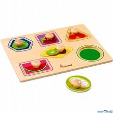 Puzzle vkládací - Geometrické tvary ovoce FSC, 6ks (Mertens)