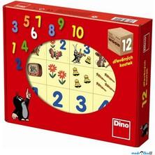 Kostky obrázkové 12ks - Krtek veselá čísla (Dino)