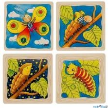 Puzzle výukové - Vývoj housenky, 44ks (Goki)
