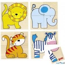 Skládací obrázky - První puzzle Divoká zvířátka, 20ks (Goki)