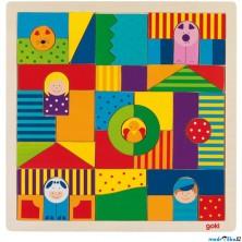 Mozaika - Dřevěná na desce, Farma, 43 dílků (Goki)