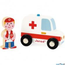 Auto - Set dřevěný, Sanitka s lékařem (Janod)