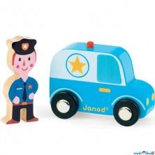 Auto - Set dřevěný, Policejní auto s policistou (Janod)
