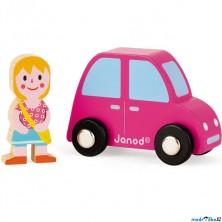 Auto - Set dřevěný, Růžové auto s dívkou (Janod)