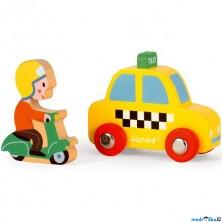 Auto - Set dřevěný, Taxík a jezdec na skútru (Janod)
