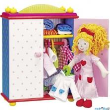Panenka látková - Karry, Oblékací se skříní ze dřeva (Goki)