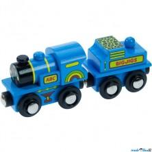 Vláčkodráha vláčky - Lokomotiva modrá ABC s tendrem (Bigjigs)
