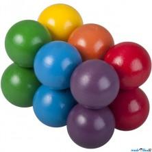 Hlavolam dřevěný - Kuličky barevné (Detoa)
