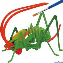 3D Puzzle s barvami - Cvrček (4 barvy + štětec)