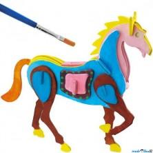 3D Puzzle s barvami - Kůň (4 barvy + štětec)