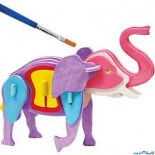 3D Puzzle s barvami - Slon (4 barvy + štětec)