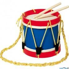 Hudba - Buben větší dřevěný, kůže, 22cm (Goki)