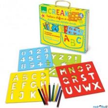 Kreslení - Šablony + pastelky, Abeceda a čísla (Vilac)