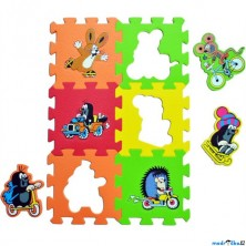 Puzzle pěnové - 15x15cm, 6ks, Krtek a dopravní prostředky (HM Studio)