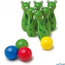 Kuželky dětské - Dřevěné malé, Žabky zelené (Legler)