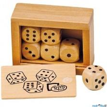 Hrací kostka dřevěná - V krabičce, 6ks (Goki)