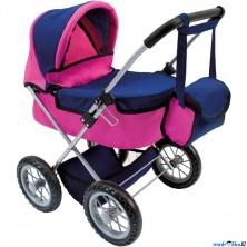 Kočárek pro panenky - Skládací s taškou, růžovo-modrý (Bino)