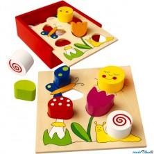 Vhazovačka - Vkládací krabička s tvary, Louka (Bino)