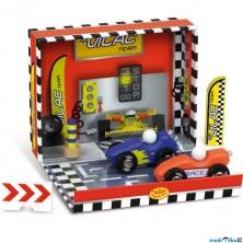 Auto - Set dřevěný v boxu, Závodní dráha (Vilac)