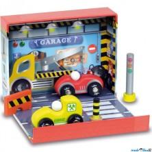 Auto - Set dřevěný v boxu, Autoservis (Vilac)