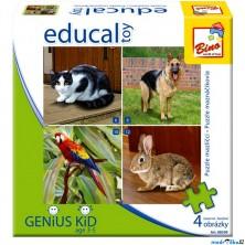 Didaktická hra - Educal Toy, Puzzle domácí mazlíčci (Bino)