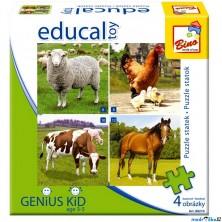 Didaktická hra - Educal Toy, Puzzle farma (Bino)