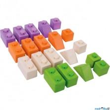 Kostky - Dřevěné spojkostky, Set 2 základní, 20ks (Bigjigs)