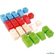 Kostky - Dřevěné spojkostky, Set 1 základní, 20ks (Bigjigs)
