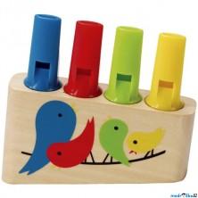 Hudba - Píšťalka, Dřevěná 4 tónová s ptáčky (Hape)