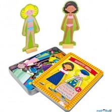 Puzzle oblékání magnetické - Oblékací box Dívka (Legler)