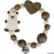 Chrastítko - Kroužek korálkový Medvídek přírodní (Heimess)