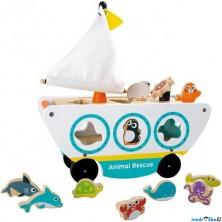 Vhazovačka - Loď na kolečkách se zvířátky (Legler)