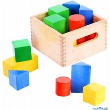 Kostky - Dřevěné barevné v přepravce, 18ks (Bigjigs)