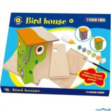 Výtvarná sada box - Ptačí budka dřevěná + barvy
