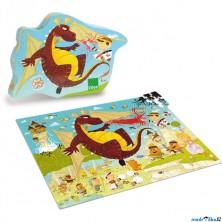 Puzzle dřevěné - Rytíř a drak, 200ks (Vilac)